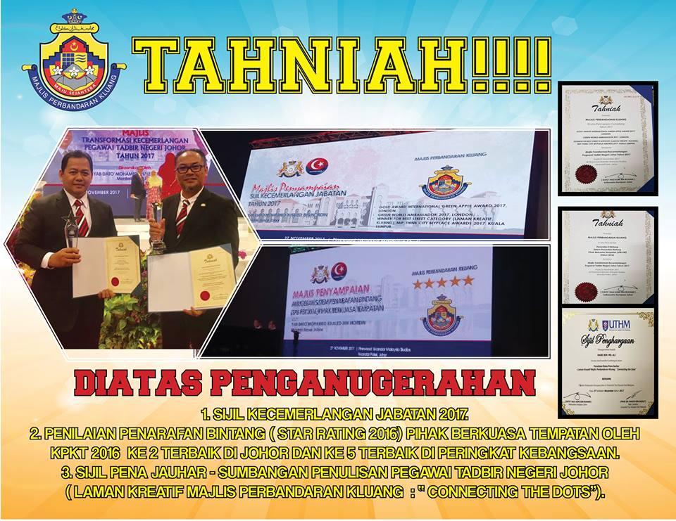 Anugerah Majlis Kecemerlangan Transformasi Pegawai Tadbir Negeri Johor Portal Rasmi Majlis Perbandaran Kluang Mpk